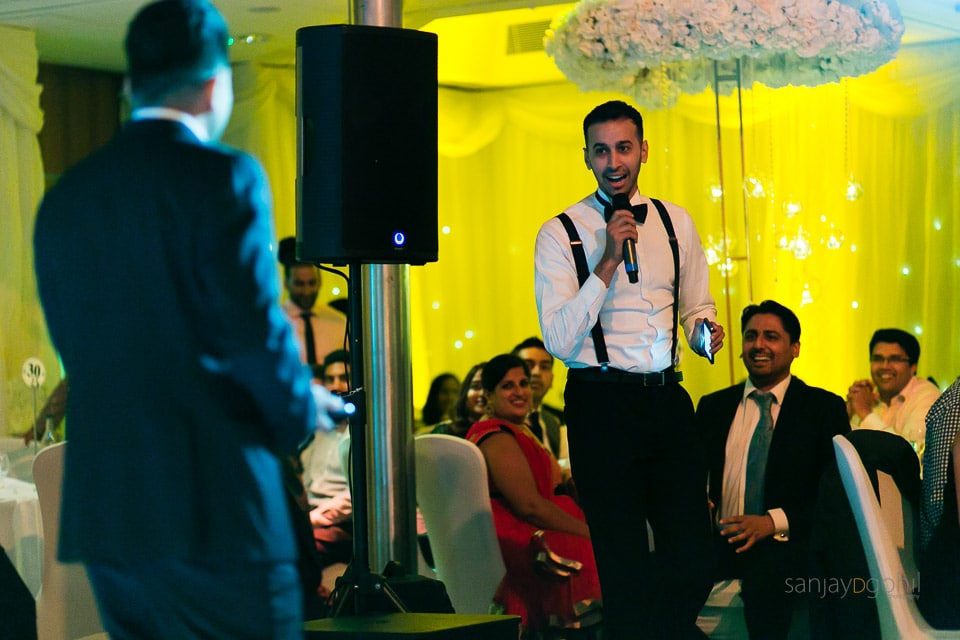 Best man's speech during wedding reception speech