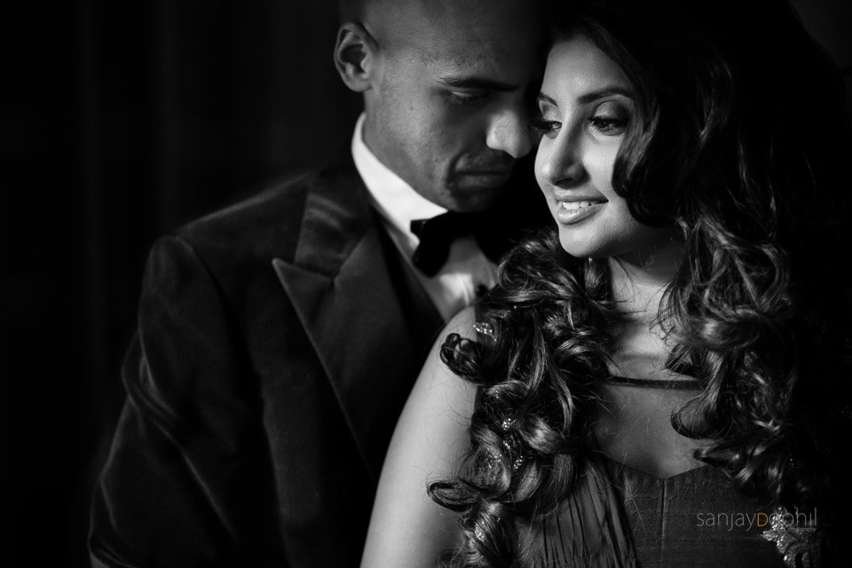 Black and white portrait of Asian Wedding couple