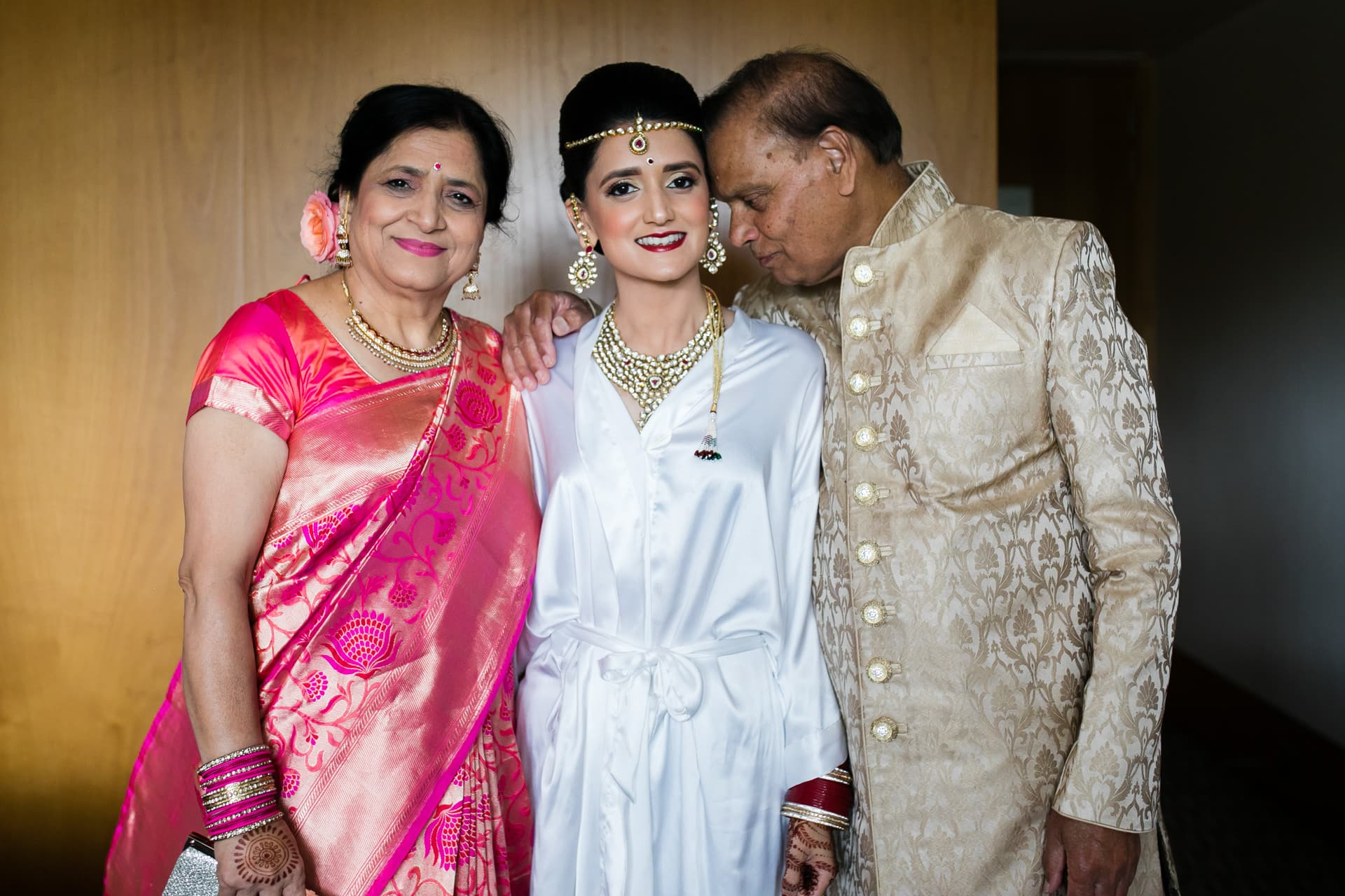 Bride with her parents