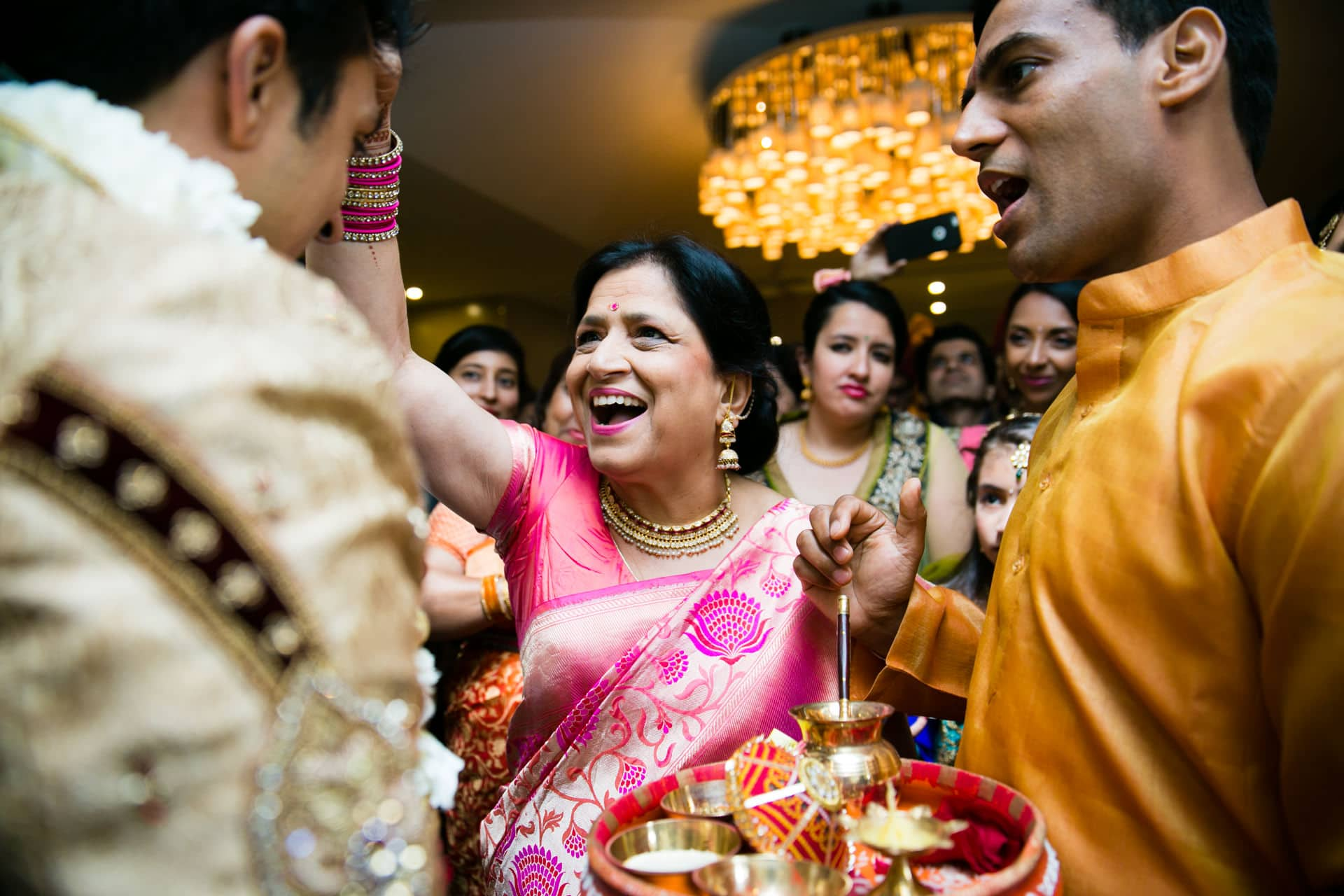 Hindu wedding welcoming ceremony