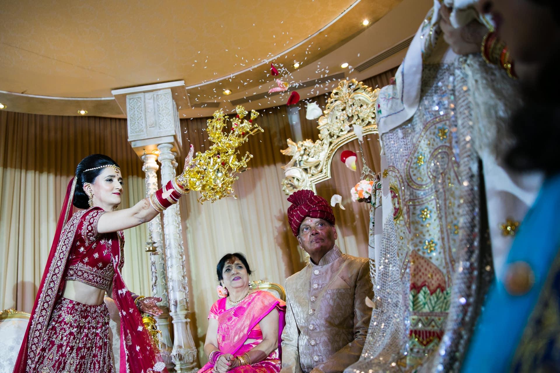Bride throwing rice