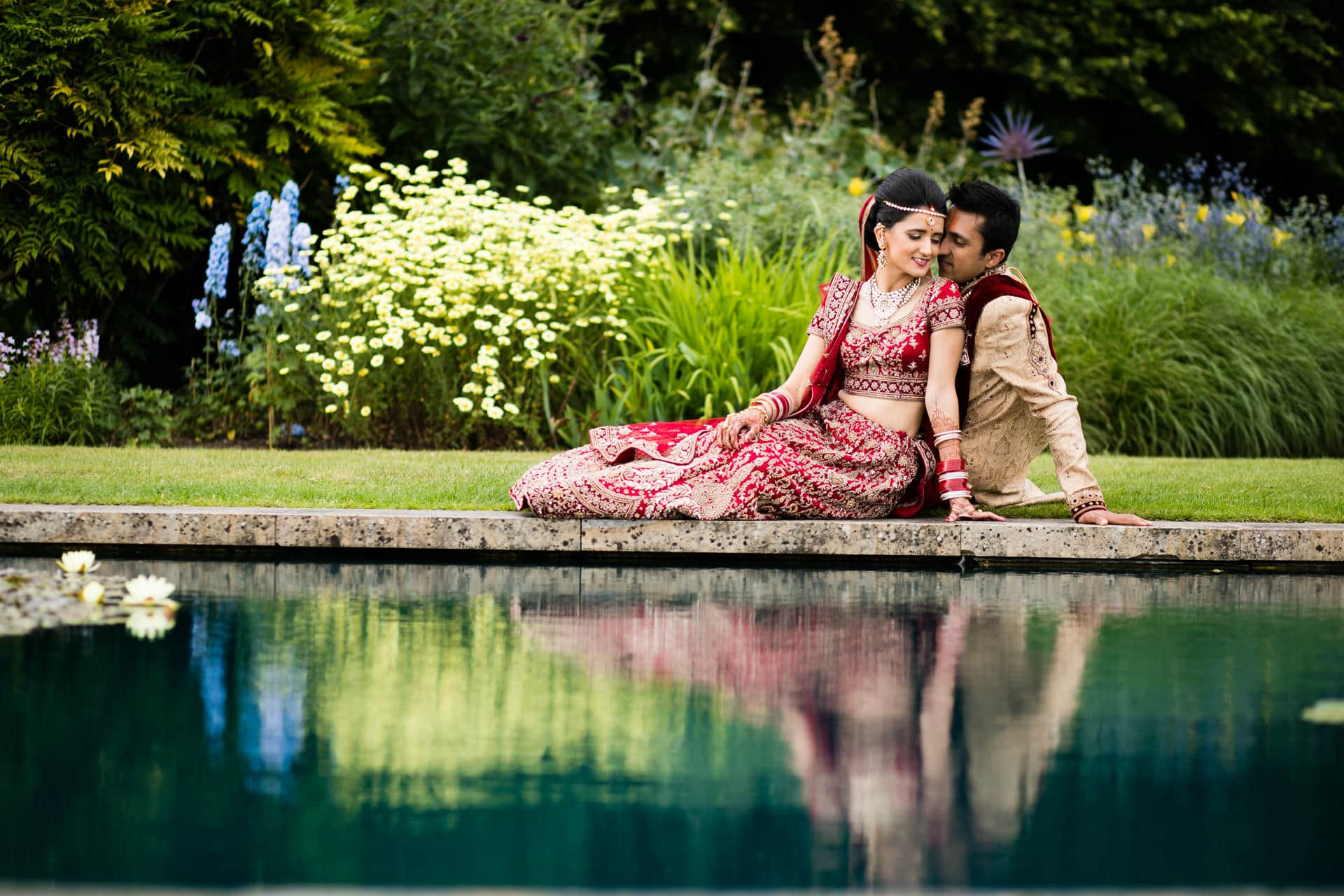 Bride and Groom Portrait at The Grove in Hertfordshire