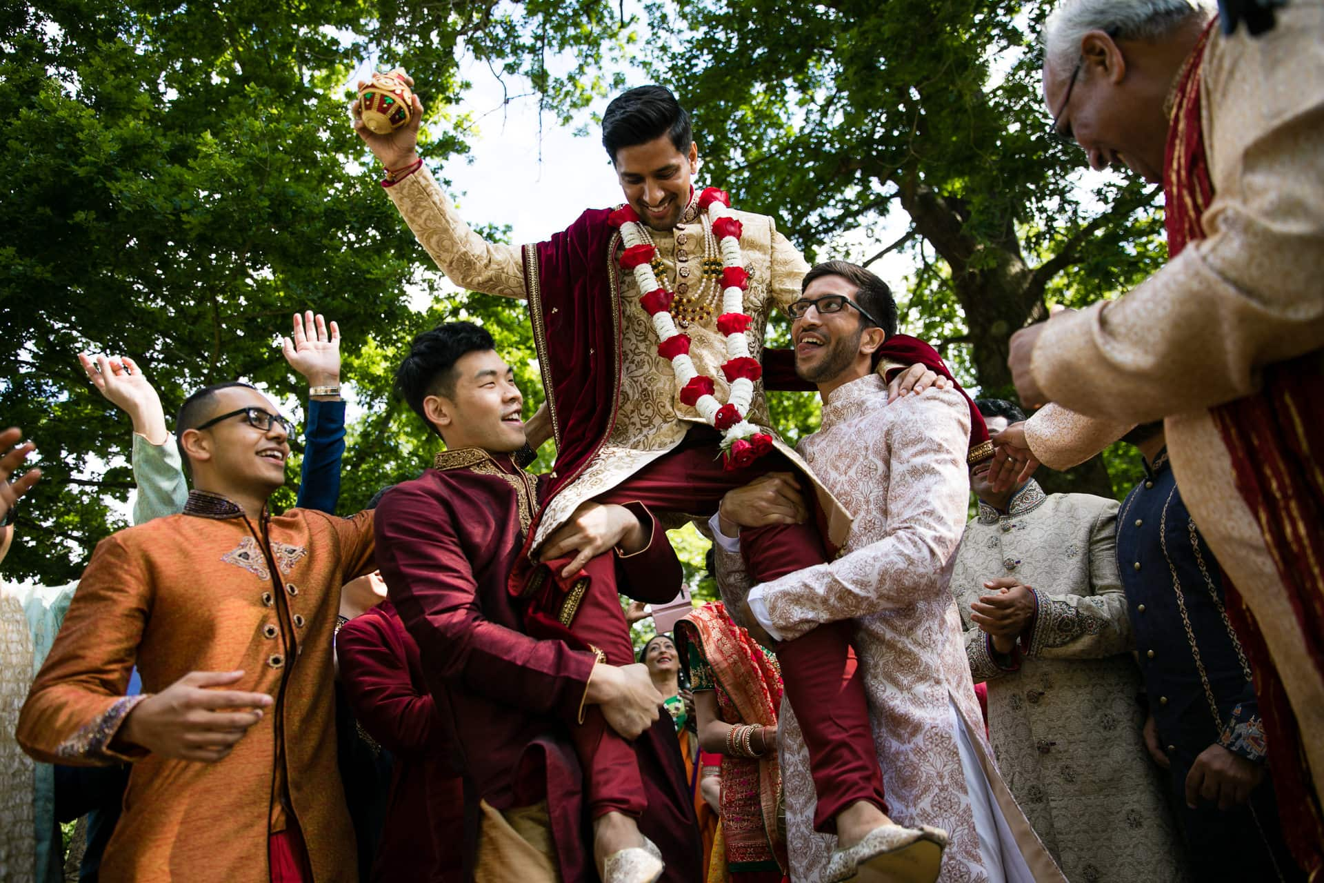 Asian wedding groom arrival at Hylands House