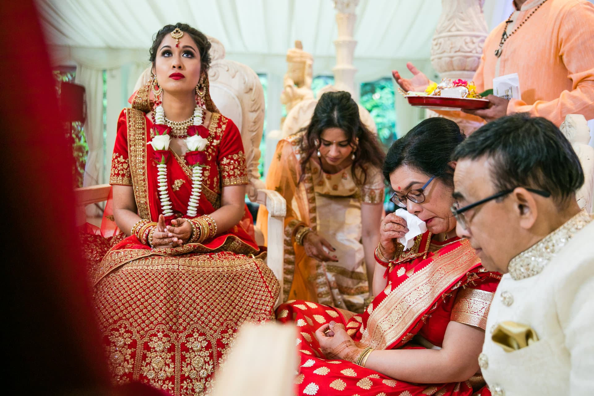 Emotional moment during the Hindu wedding ceremony