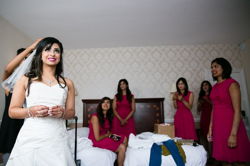 Asian bride getting ready for civil wedding