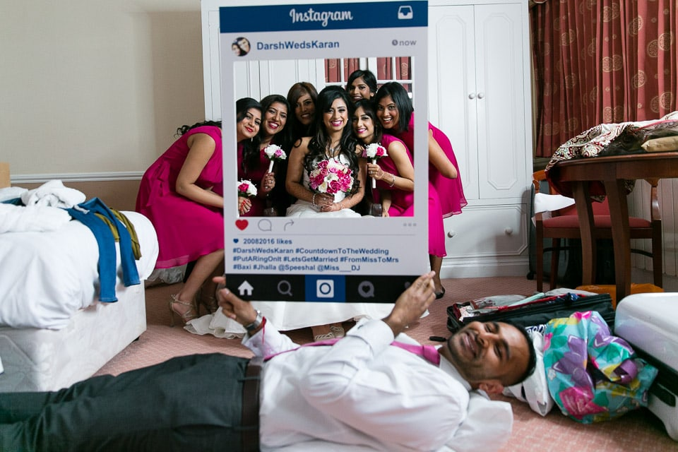 Bride and Bridesmaid's photo with instagram frame