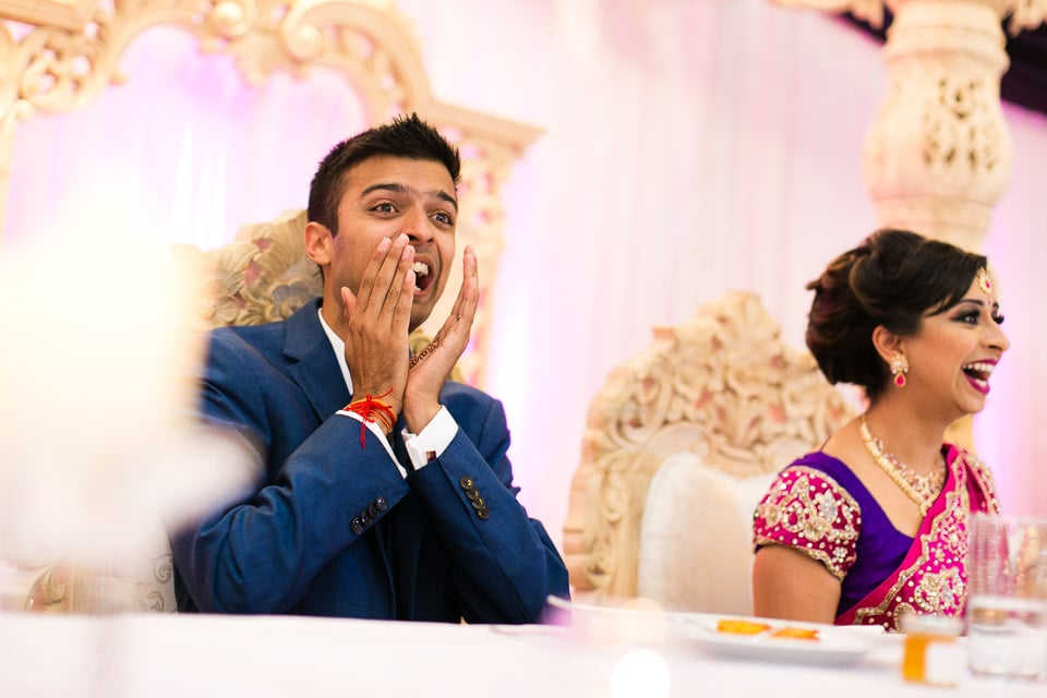 Reactions during speeches at wedding reception party