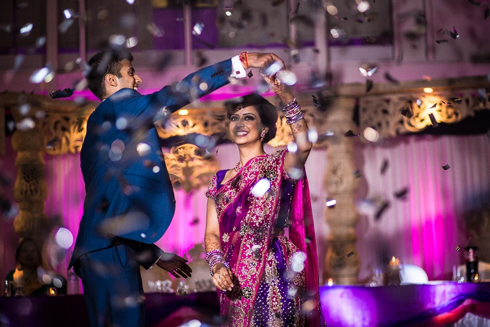 Asian Wedding first dance with confetti
