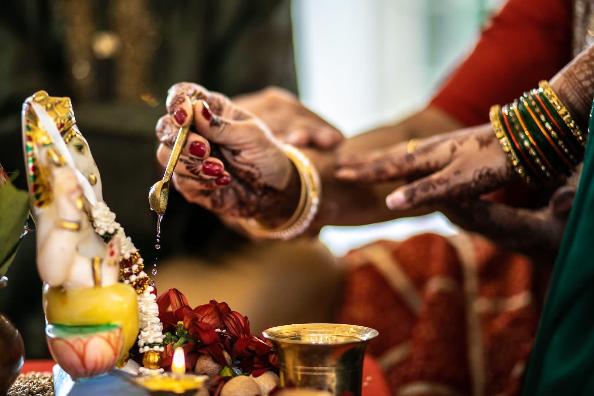 Ganesh Pooja ceremony during Hindu Wedding