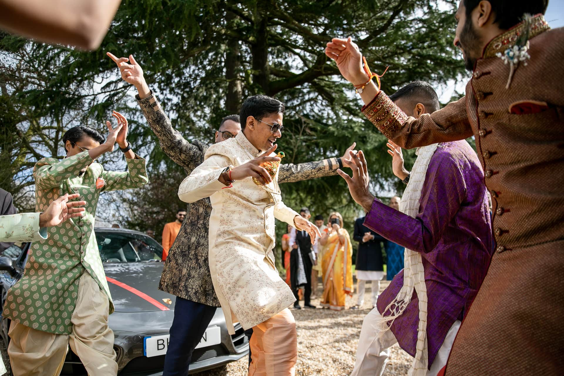 Asian groom's arrival