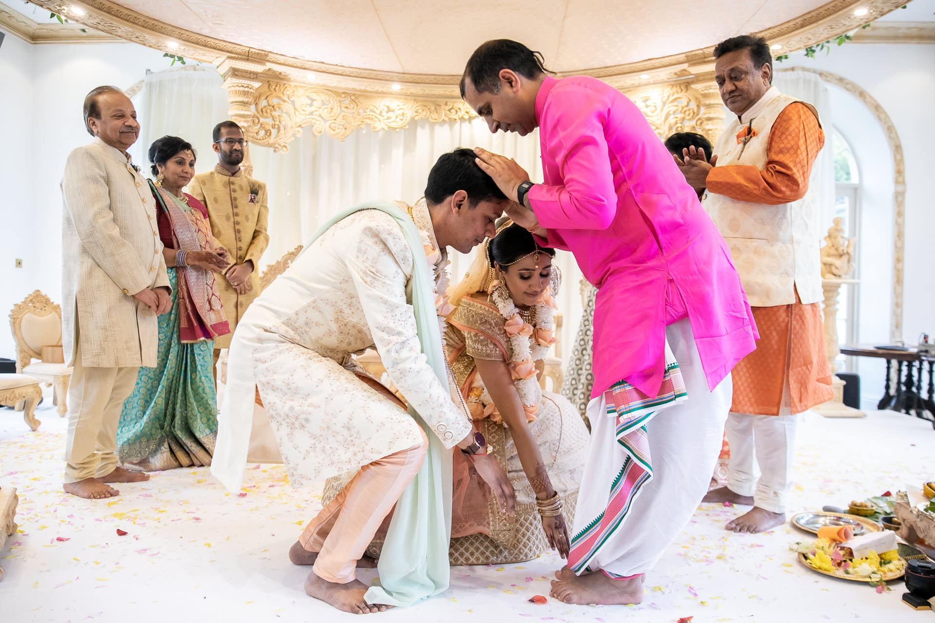 Blessing from Hindu wedding priest Arjun Pandey