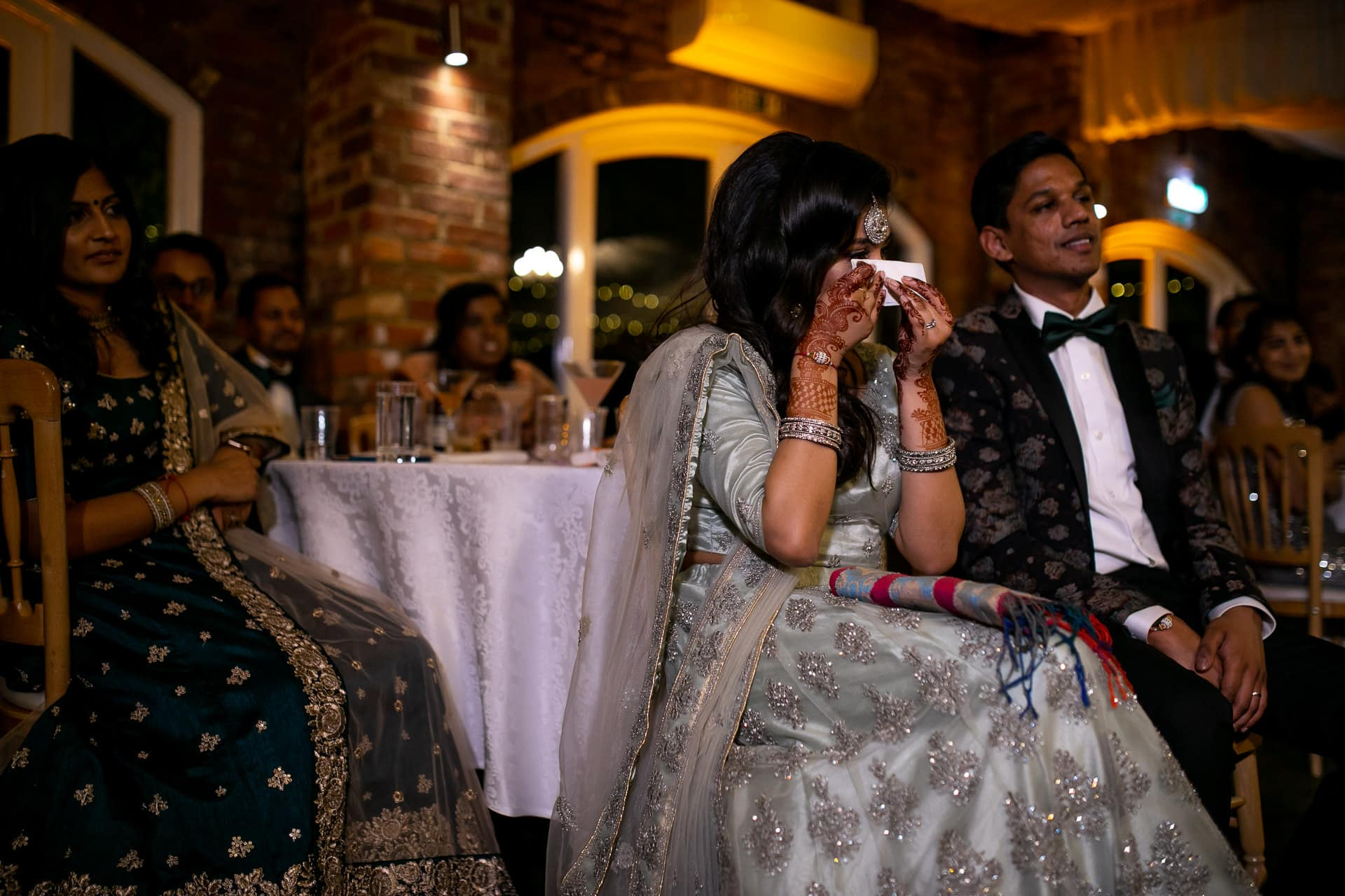 Hindu Bride crying during speeches