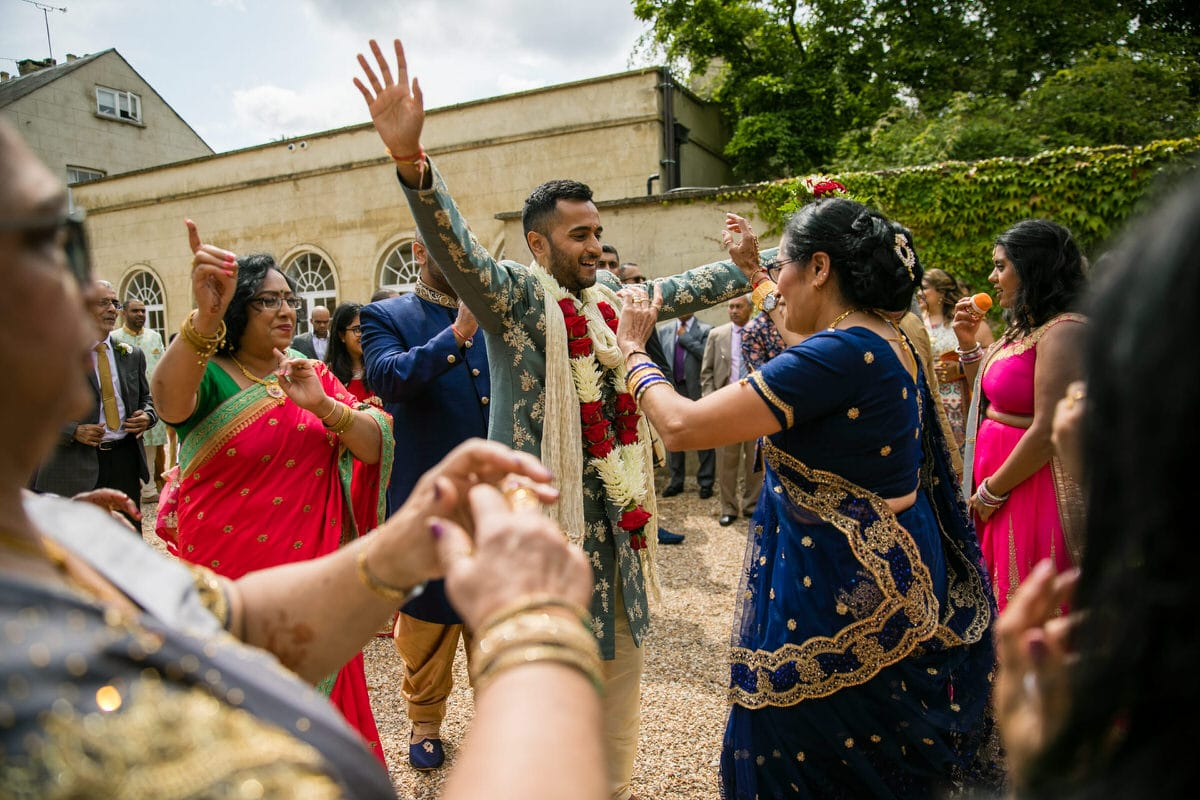 Wedding groom's arrival