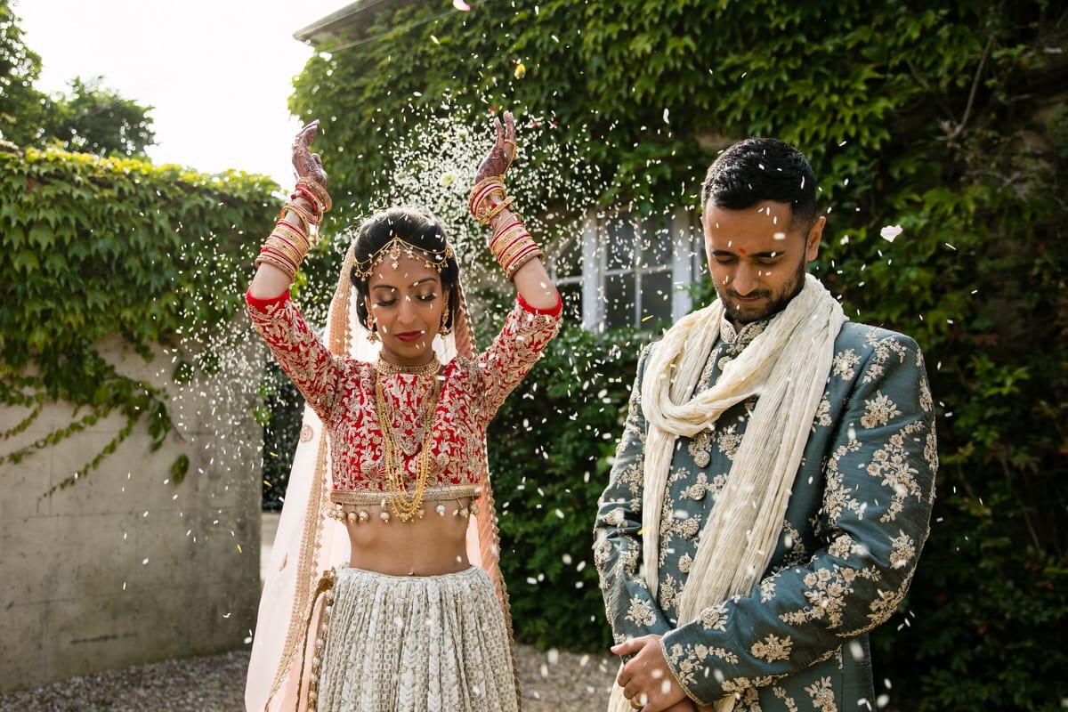 Bride throwing rice behind