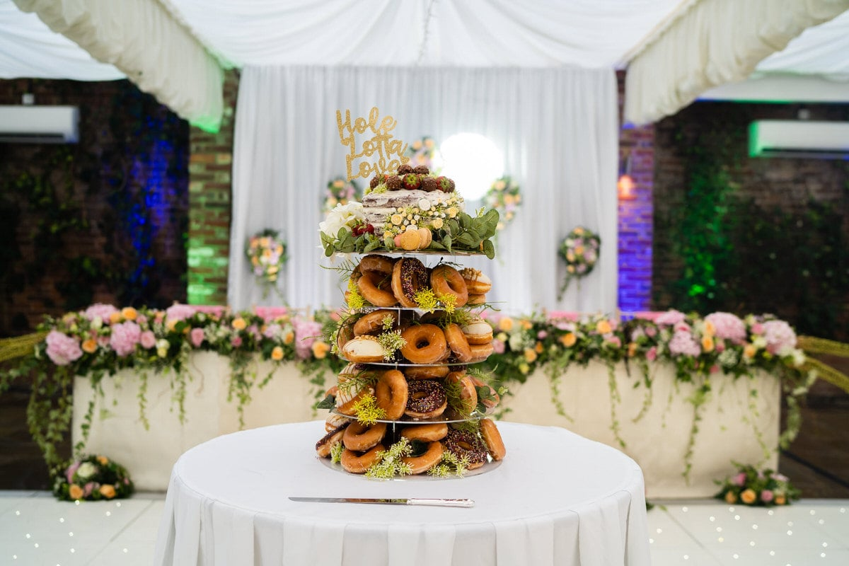 Wedding cake made from doughnut