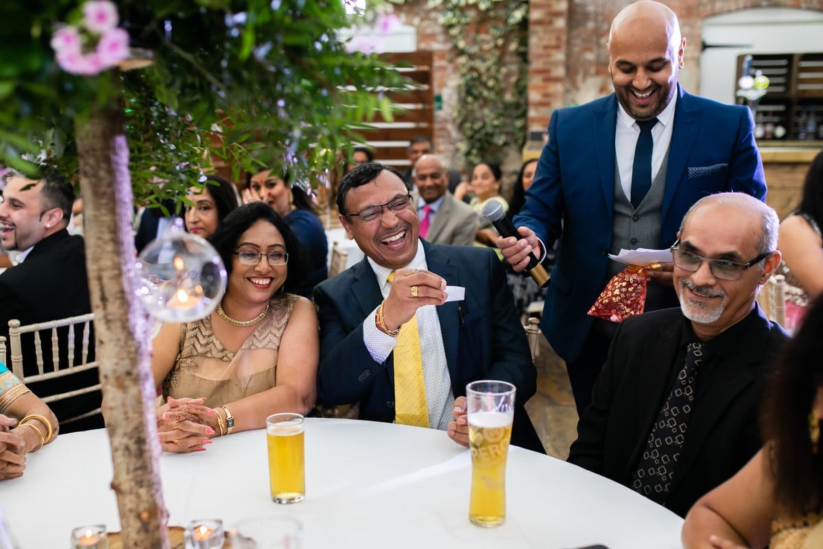 Speeches and reactions during wedding reception