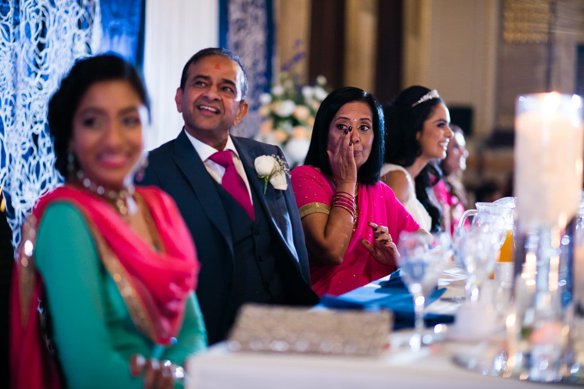 Mother of Bride wiping eyes during speeches