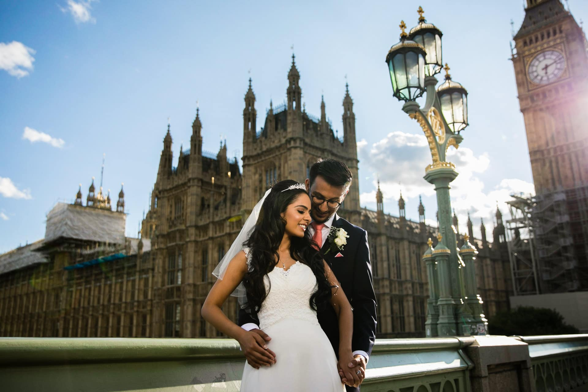 Wedding portrait outside Big Ben, London