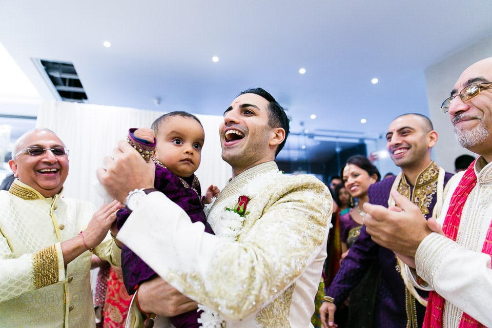 Groom dancing with nephew