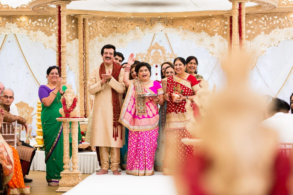 Brides family laughing