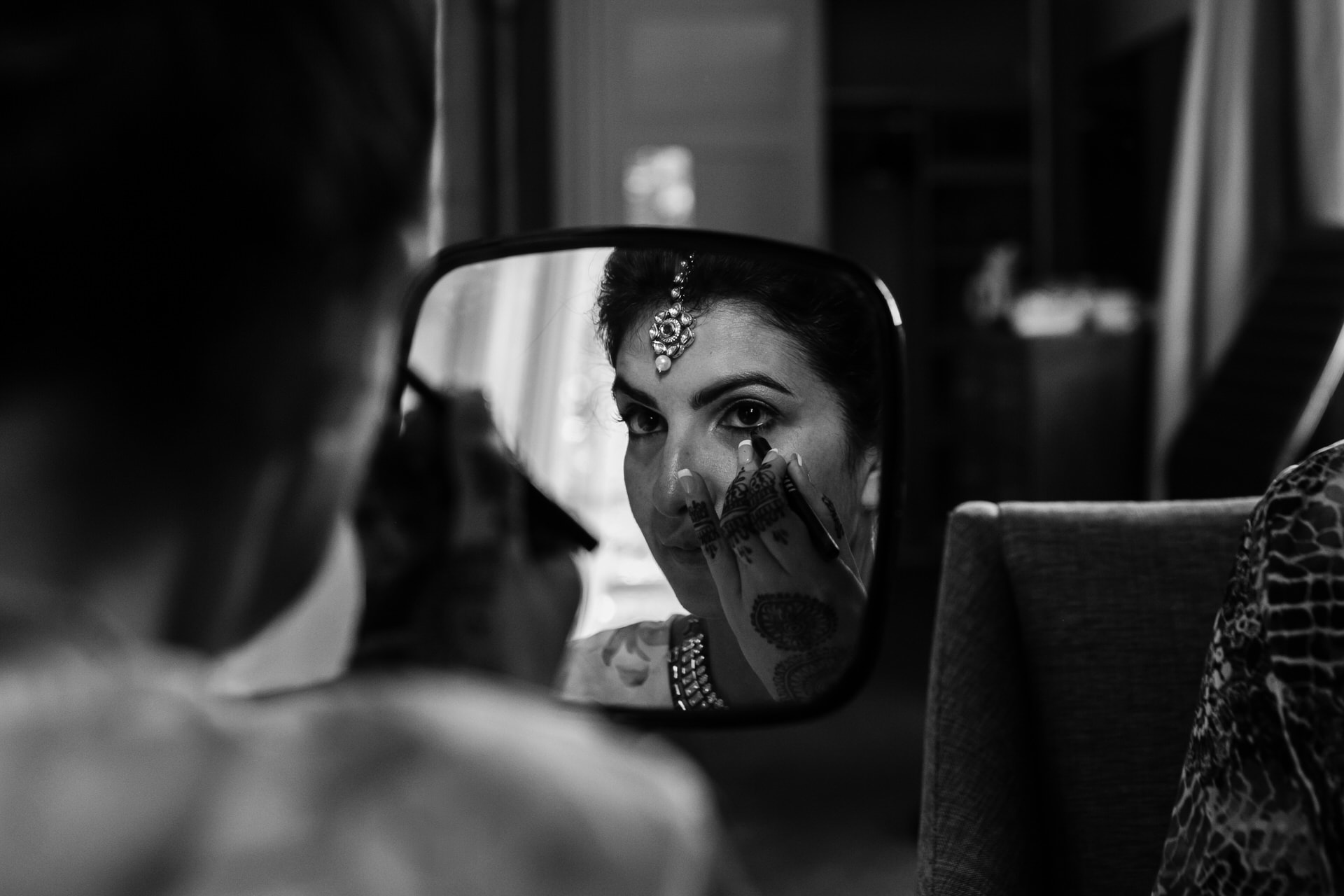 Asian bride getting ready for wedding day