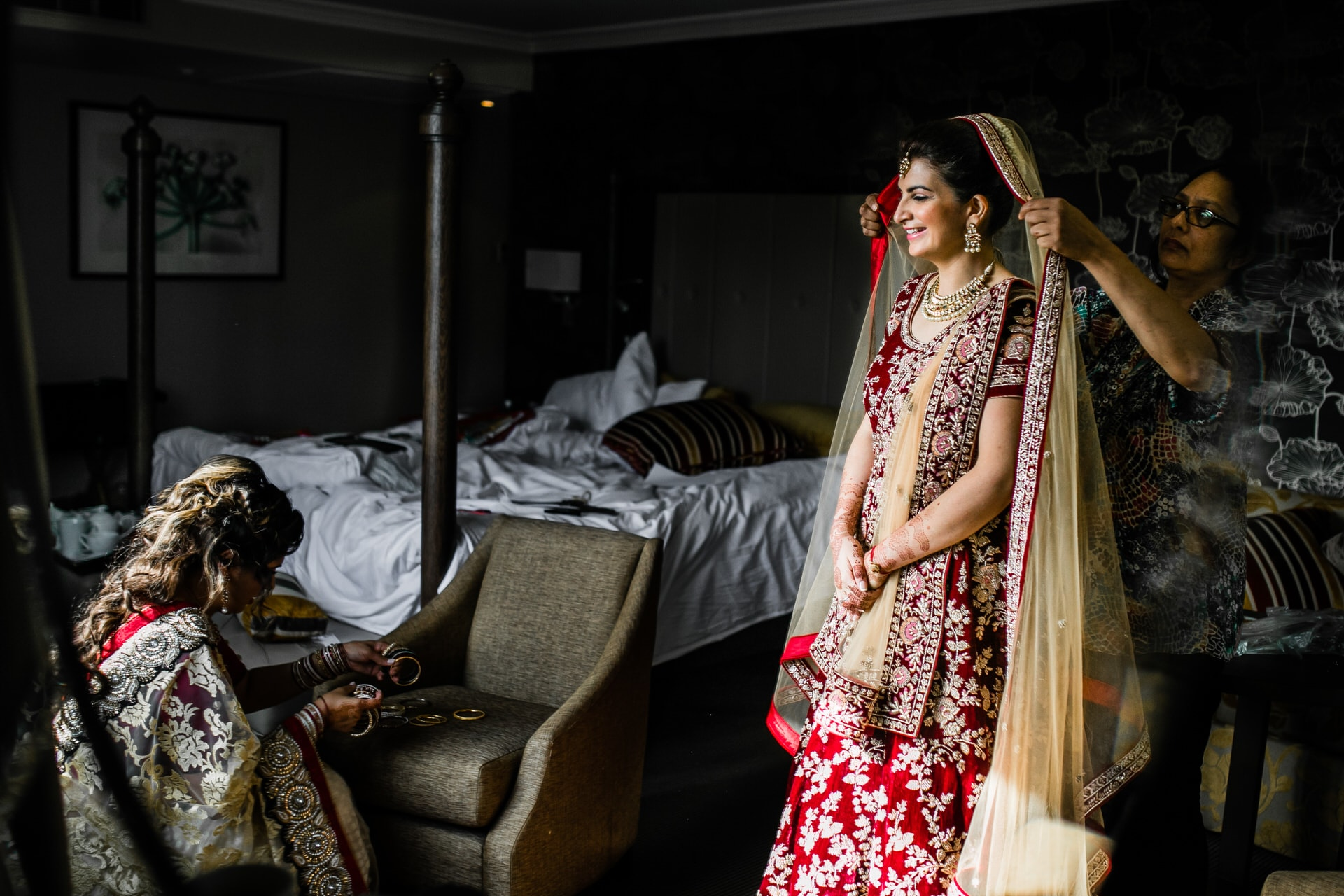 Asian bride getting ready for wedding day