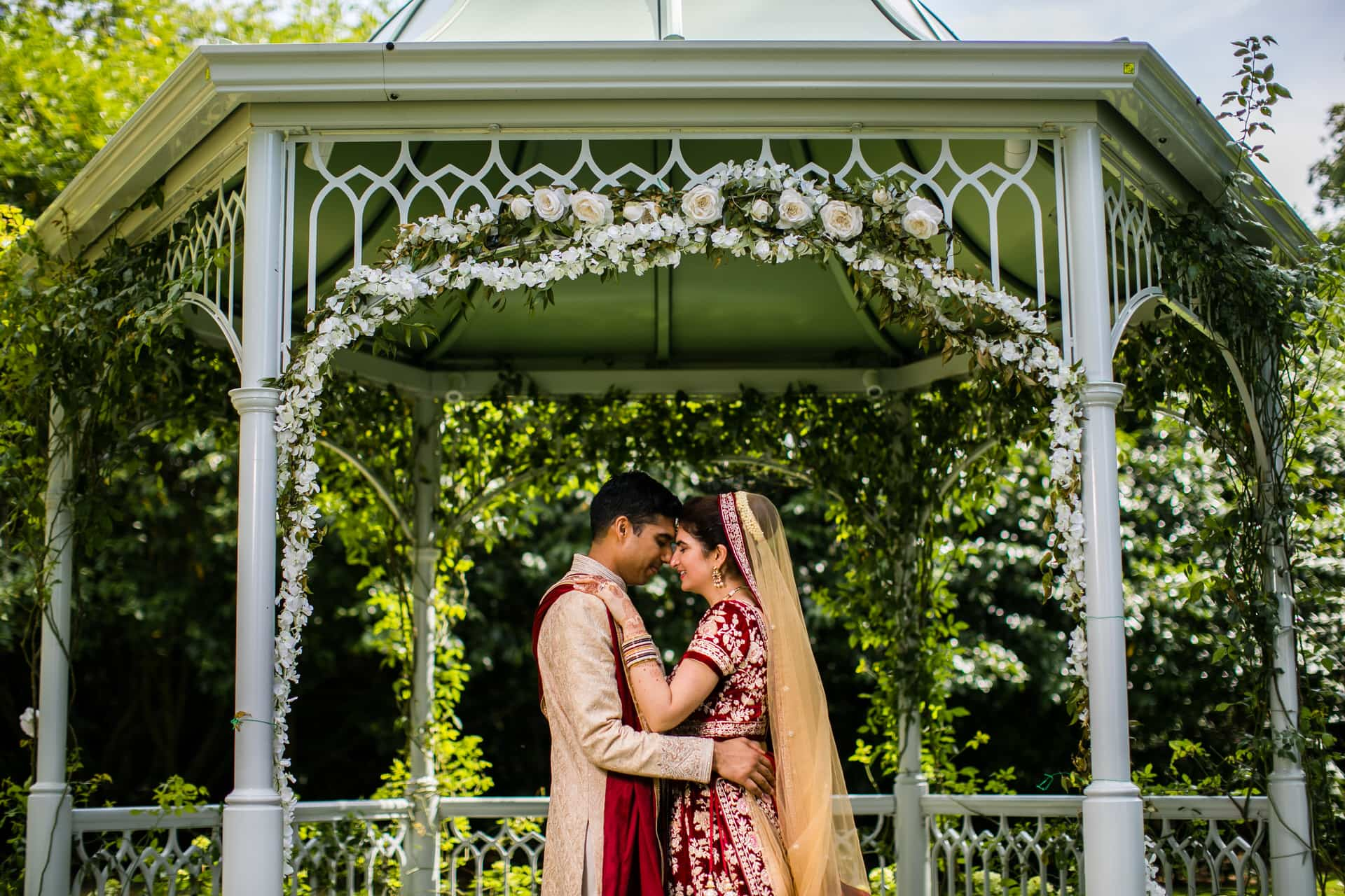 Asian wedding couple portrait