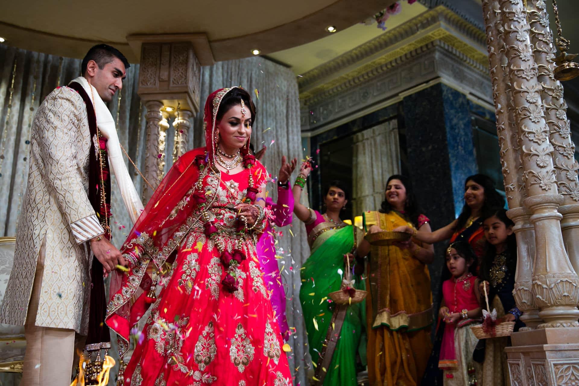 Bride leading the Phera ceremony at Hindu wedding
