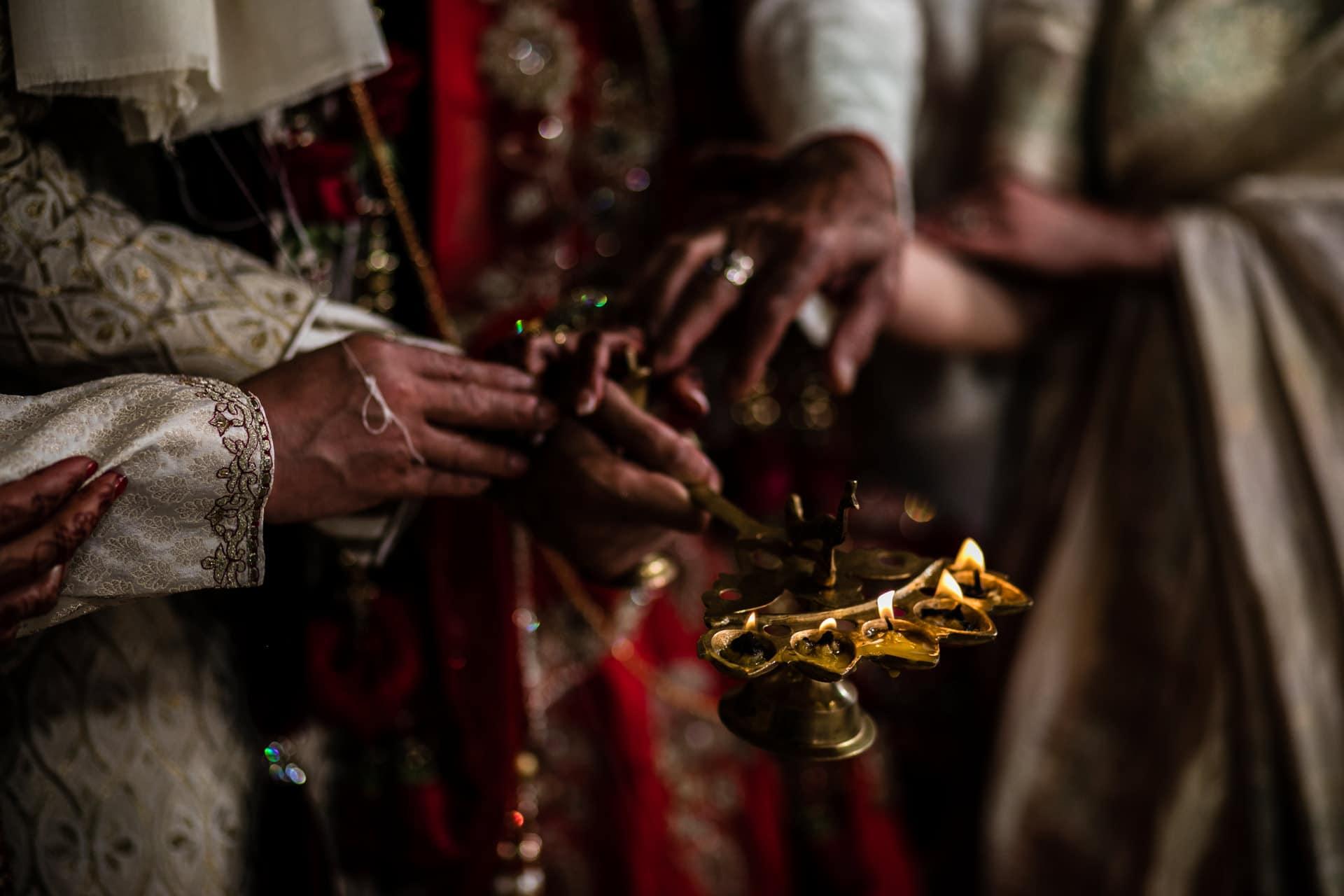Aarti ceremony during Hindu Wedding