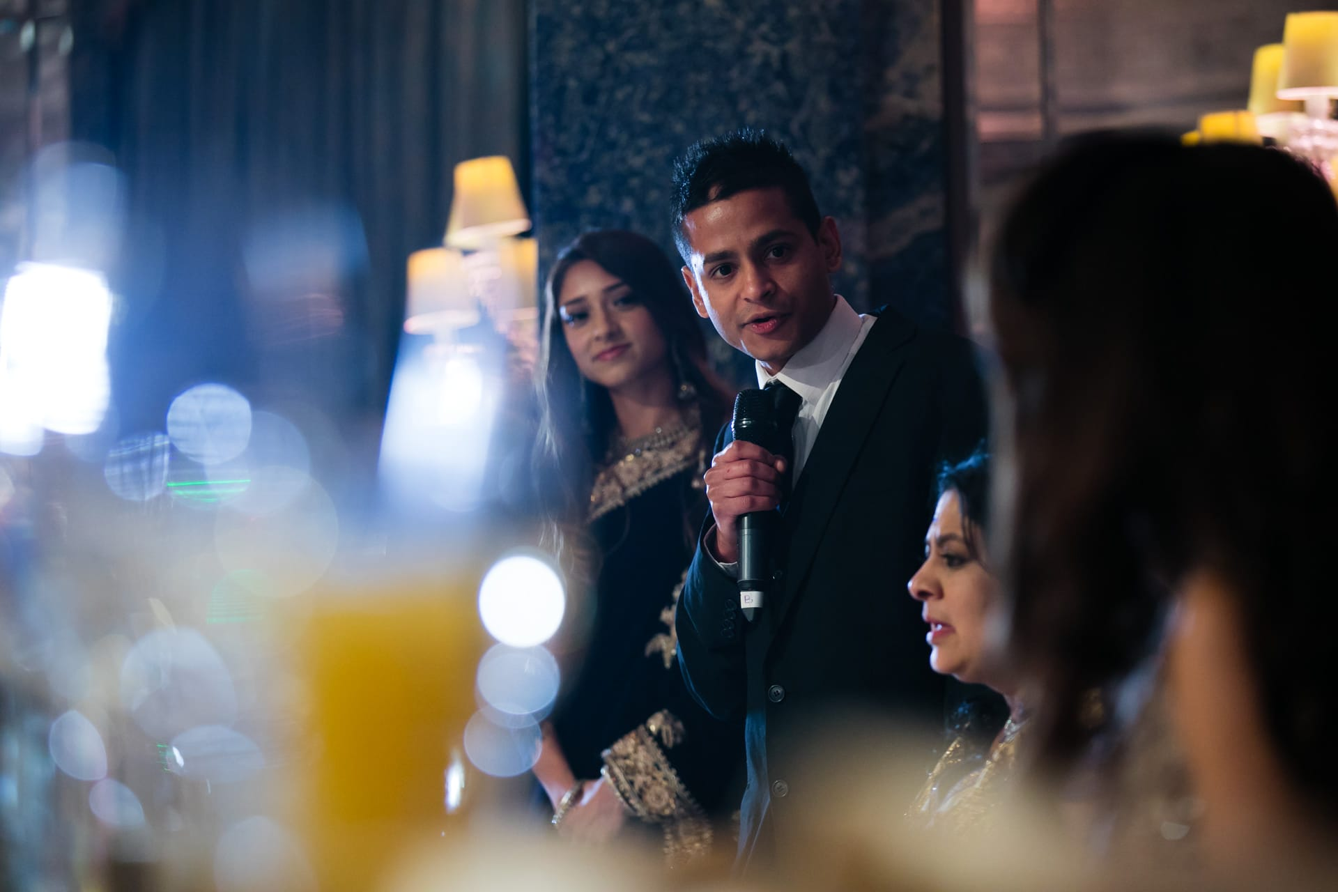 Asian wedding reception party speeches