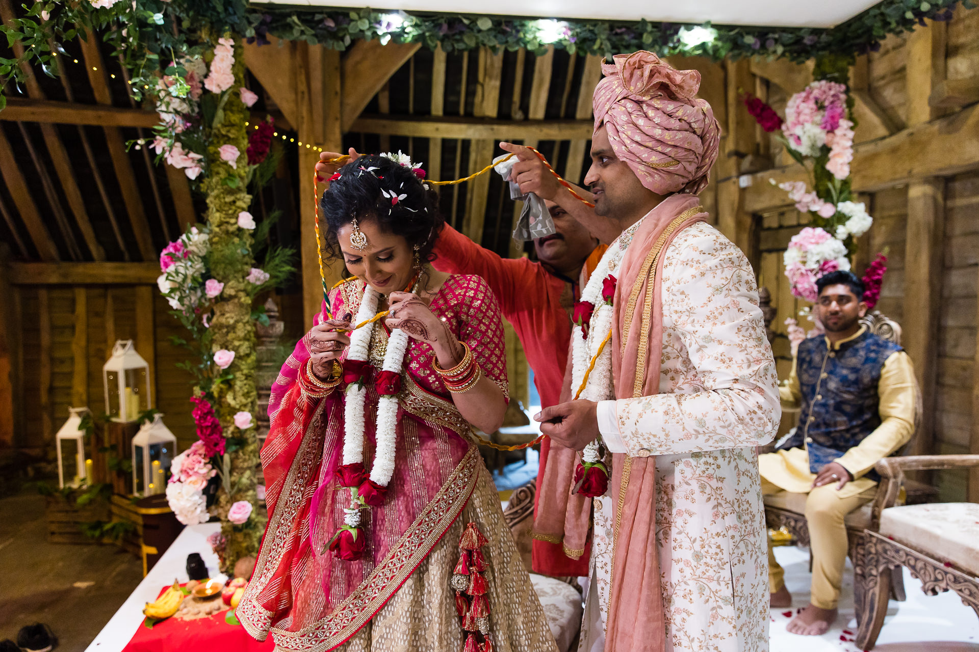 Asian bride and groom tangled up
