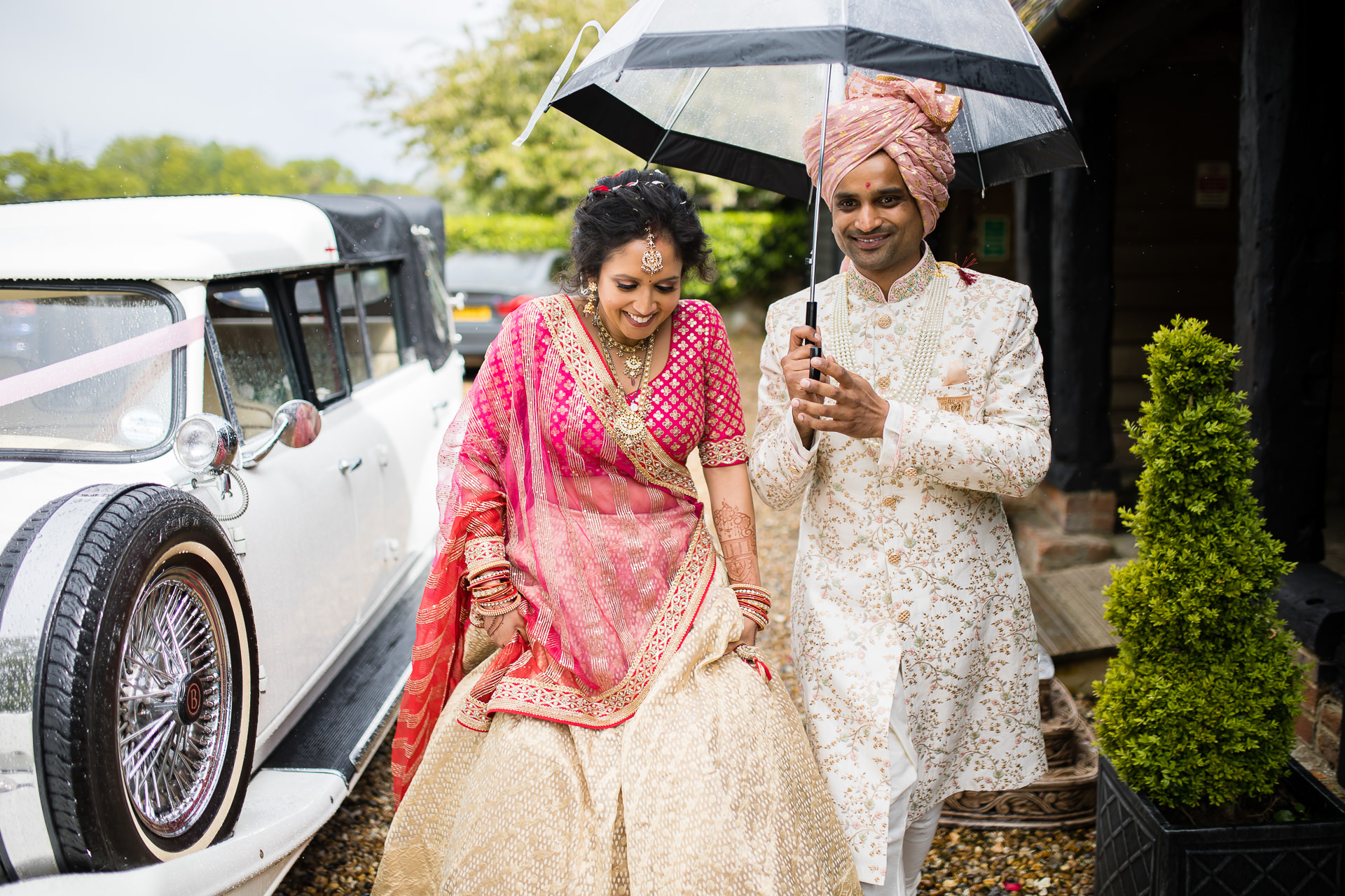 Asian wedding couple portraits at The Priory Barn in Hitchin
