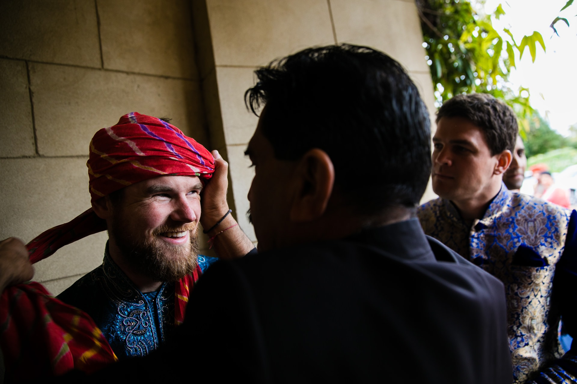 Groom's party getting Turban tied on