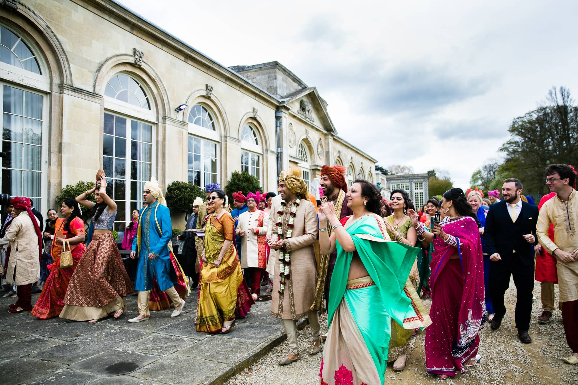 Asian Wedding procession at Woburn Abbey Sculpture Gallery