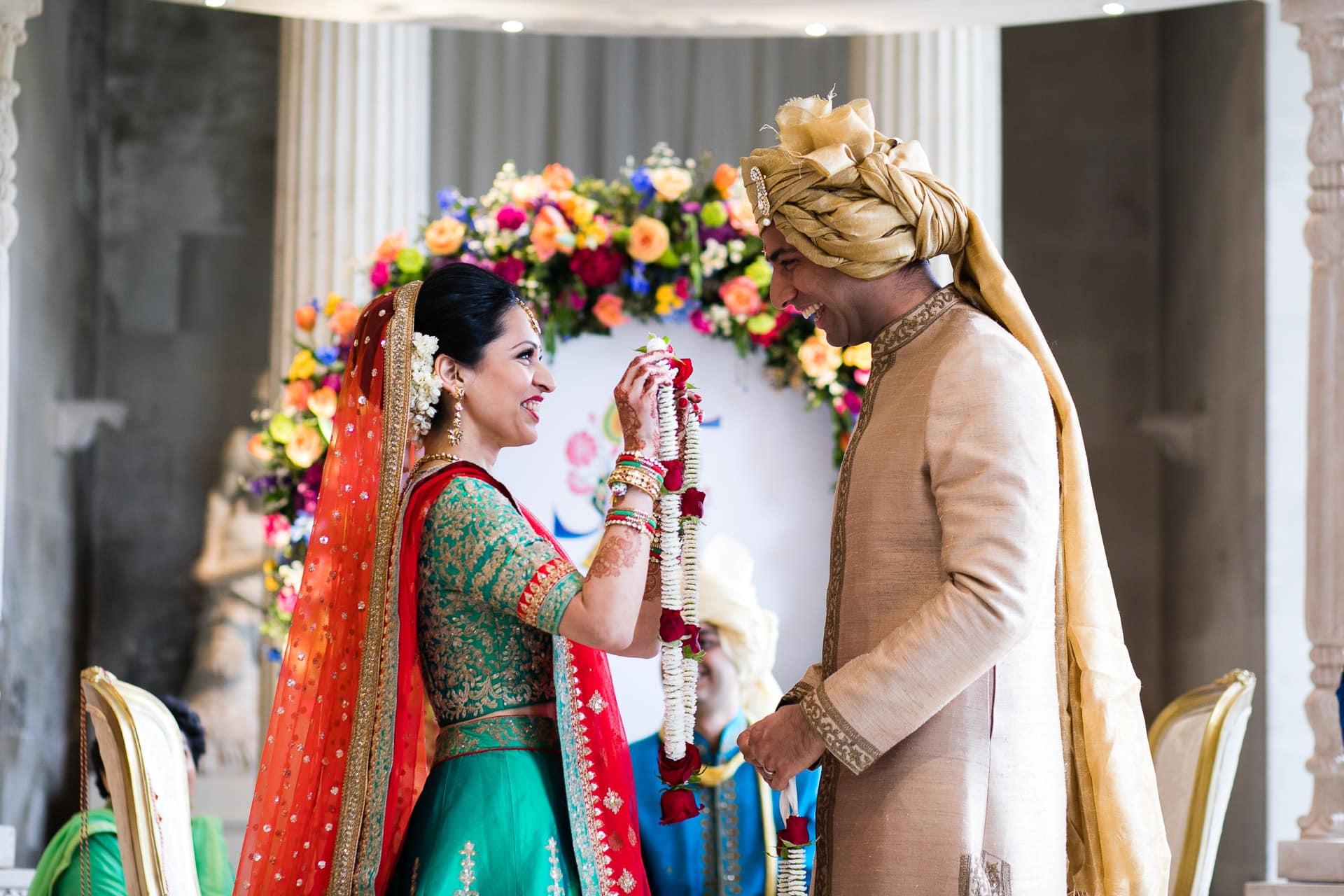 Garlanding ceremony during Hindu Wedding