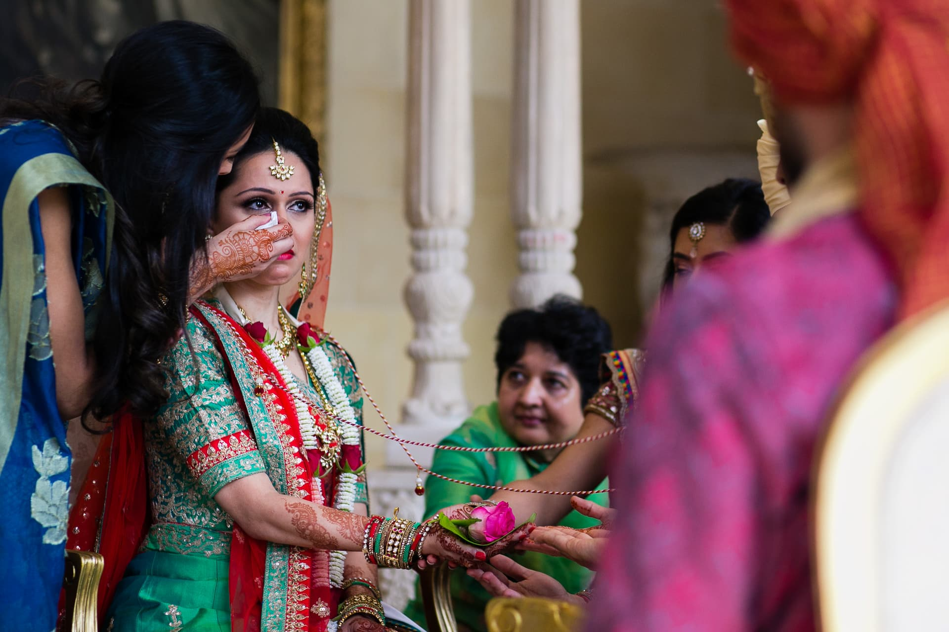 Bride crying during wedding