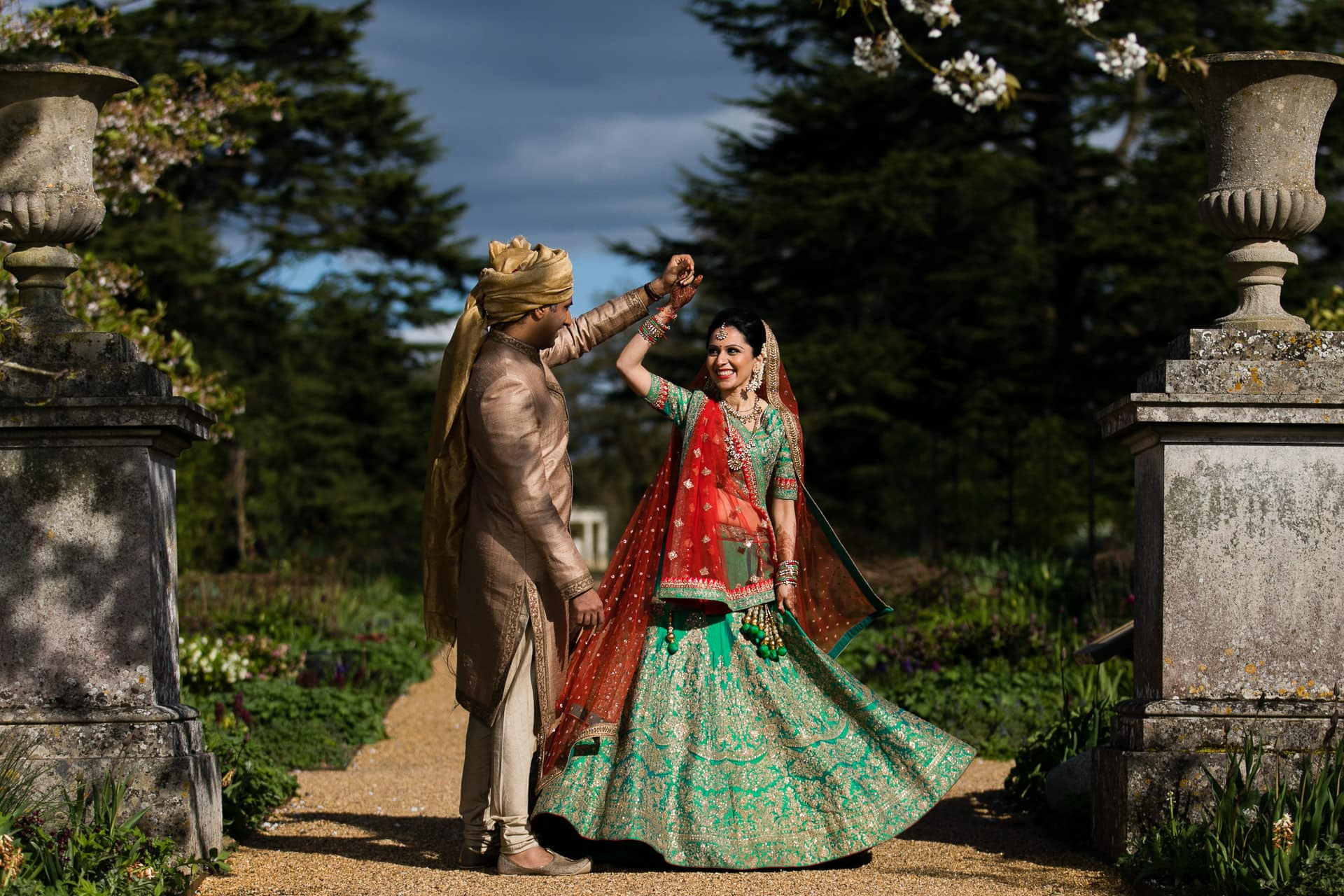 Asian Wedding portrait at Woburn Abbey Sculpture Gallery