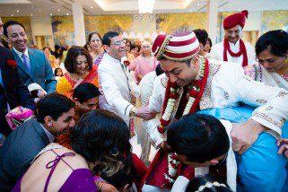 Hindu Wedding ceremony, shoes being stolen