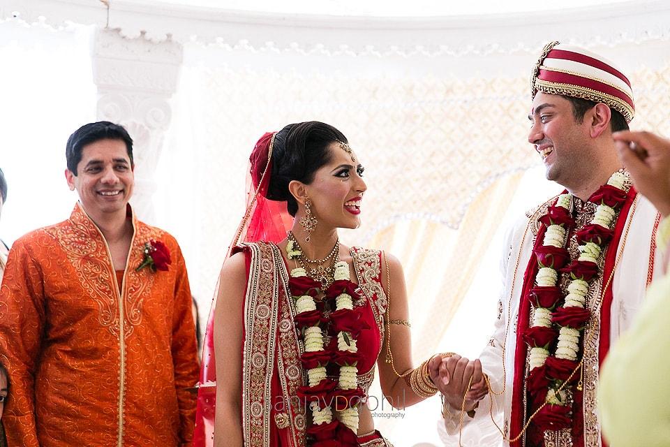 Hindu Wedding couple laughing