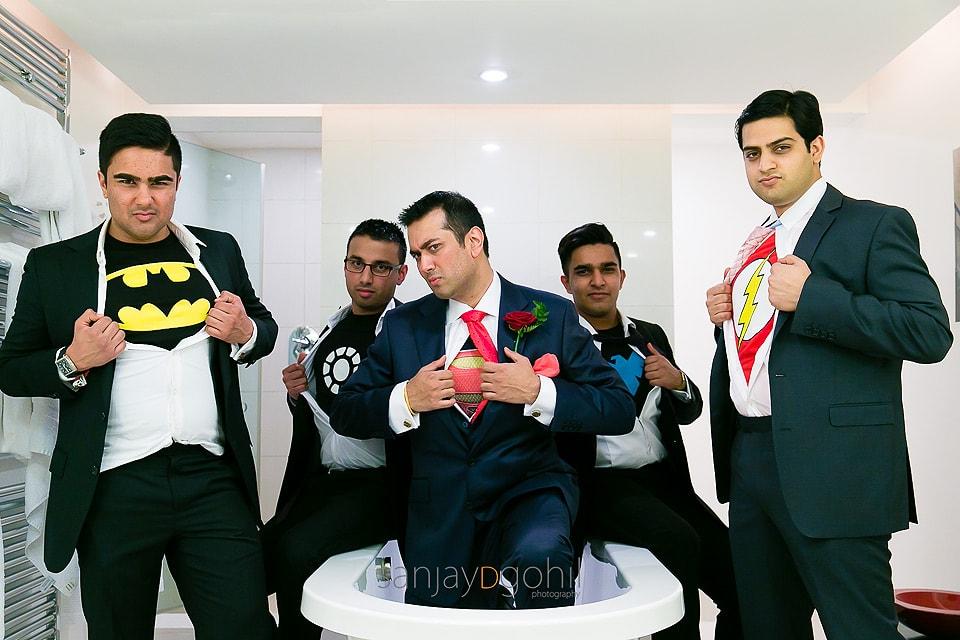Groom and his best men in superhero tshirts