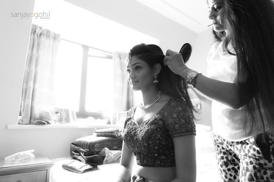 Hindu wedding bride getting ready in windsor