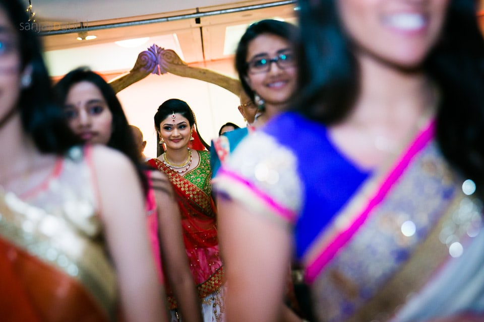 HIndu Bride arriving into mandap