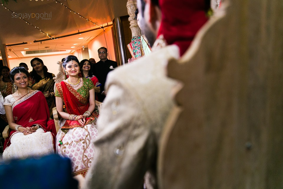 Bride reaction of seeing the groom at the wedding