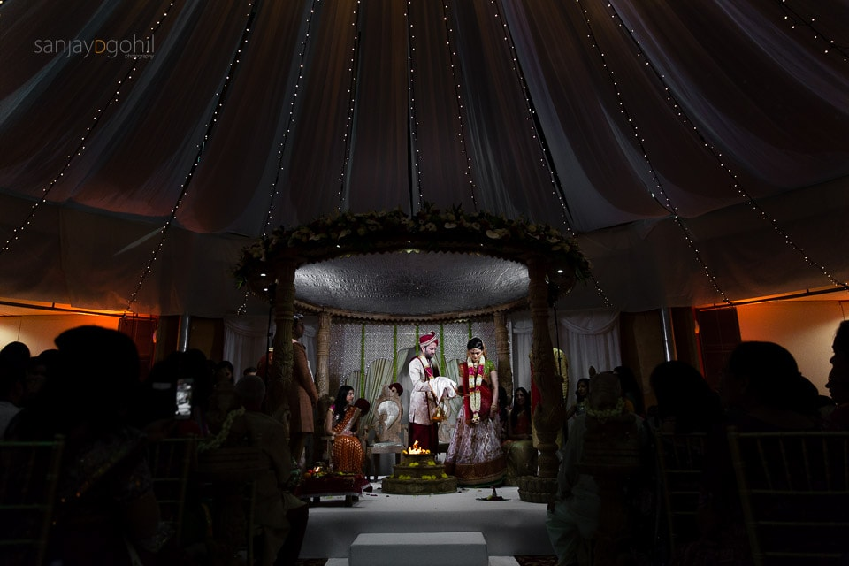 Hindu Wedding ceremony at Saville Court decor my Gayatri Mandaps