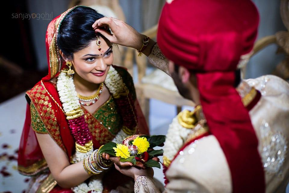 Sindoor ceremony during Hindu Gujarati ceremony