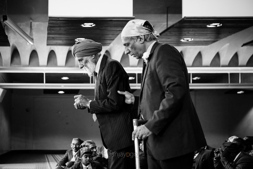 Black and White Sikh wedding Photograph