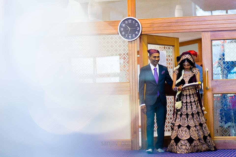 Bridal entrance during Sikh wedding ceremony