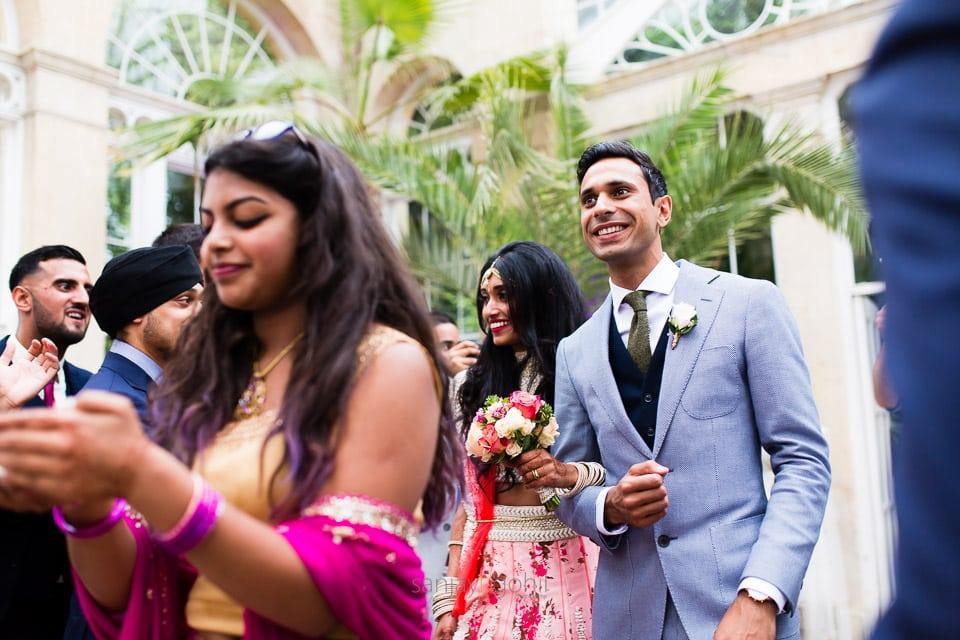 Bride and groom entrance during wedding reception