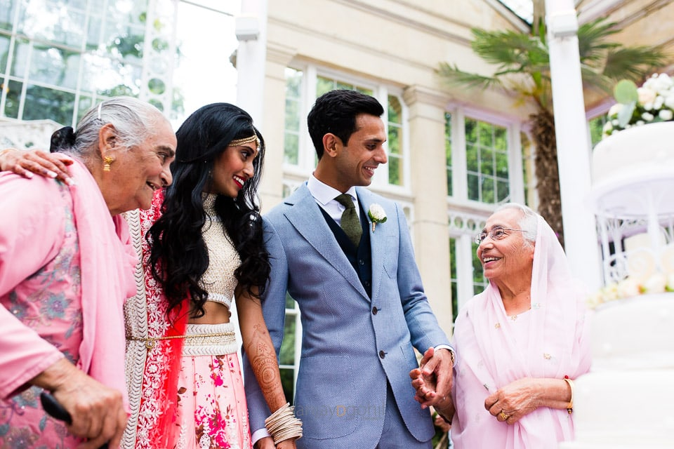 Bride and groom with Grand parents