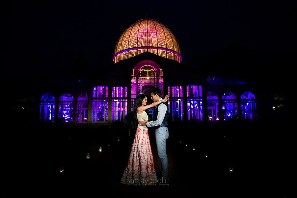 Sikh wedding couple portrait outside Syon Conservatory